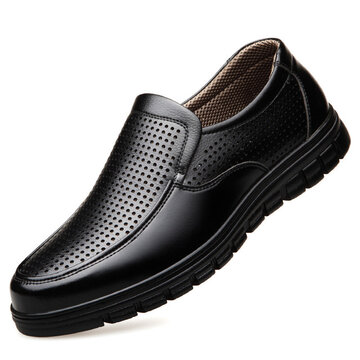 Men Business Casual Breathable Soft Bottom Leather Shoes