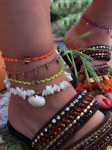 Fluorescent Braided Multi-layer Anklet