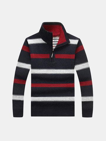Suéter casual grueso de punto rayado para hombre