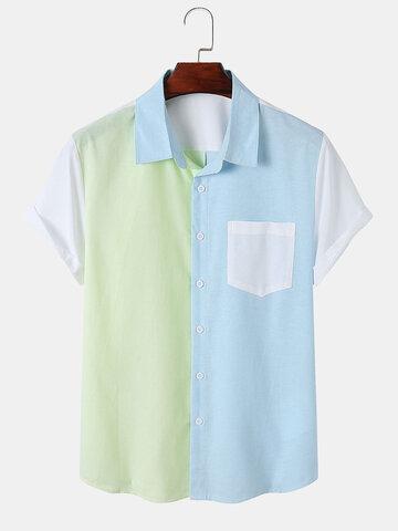 Tricolor Patchwork Pocket Shirt