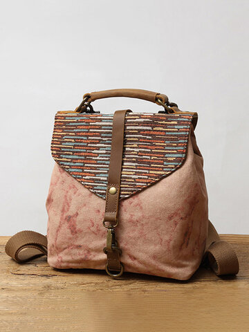 Canvas Genuine Leather Patchwork Backpack