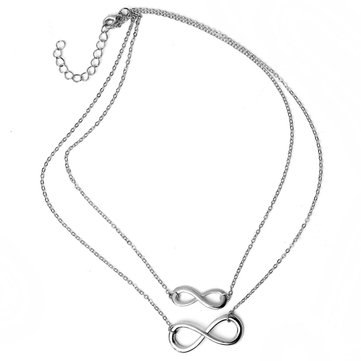 Leaves Bird Cross Infinity Clavicle Necklace
