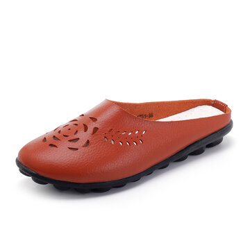 Hollow Leather Comfy Backless Loafers