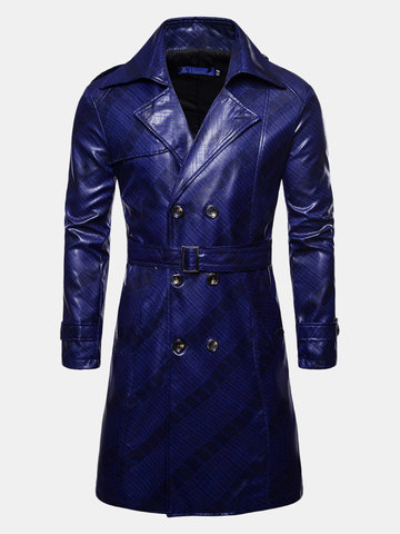 Men Lapel Collar Leather Coat