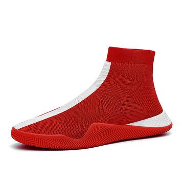 Men Knitted Fabric Sport Sock Running Sneakers
