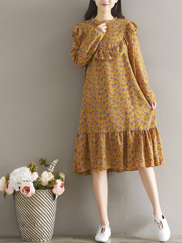 Women Floral Printed Long Sleeve Mid-Long Vintage Dresses