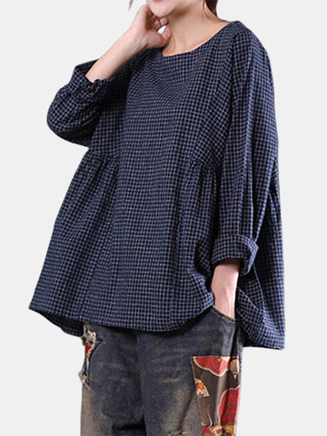 Loose Plaid Long Sleeve O-Neck Blouse