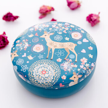Flamingo Elk Iron Round Storage Box