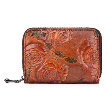 Brenice Vintage Casual Floral Genuine Leather Card Holder
