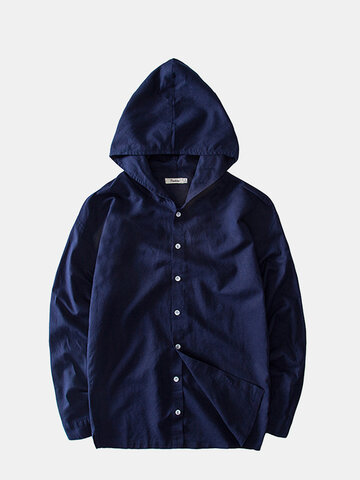 Cotton Linen Casual Hooded Shirts, Gray navy khaki