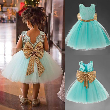Big Bow-Knot Girls Princess Dress For 1Y-7Y