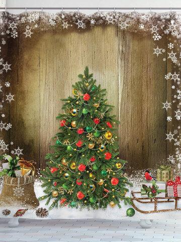 <US Instock>Christmas Tree Fabric Shower Curtain Gifts Sleigh Presents Holiday Bath Decor