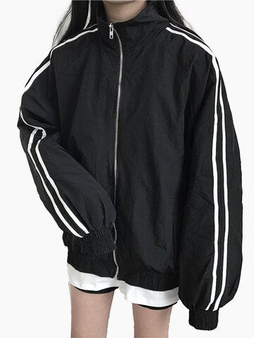 Side Striped Zipper Stand Baseball Jacket фото