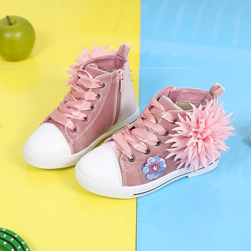 Girls Floral Decor Zipper Casual Shoes
