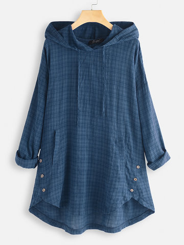Vintage Plaid Hooded Irregular Blouse