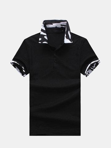 Bequemes Tarn-Golfhemd mit umlegekragen und bedrucktem Kragen