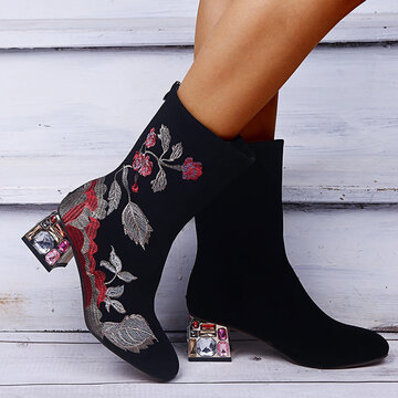 Flowers Embroidered Mid Calf Boots