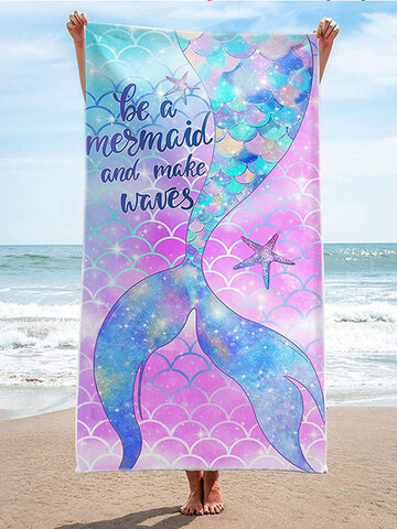 1 PC Double Sided Microfiber Quick Drying Mermaid Colorful Bath Towel Printed Beach Towel Beach Swimming Bathing Vacation Sandy Blanket