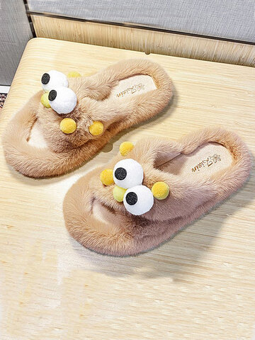Cute Big Eyes Home Plush Slippers