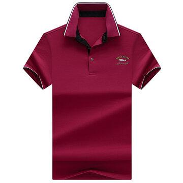 Casual Solid Slim Fit Turndown Collar Golf Shirts