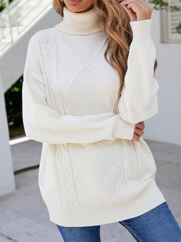 Solid Cable Argyle Pattern Sweater