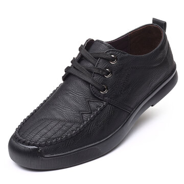 Men Microfiber Loafers Lace-up Casual Business Flats