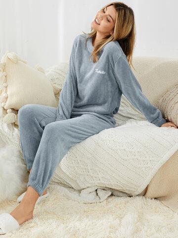 Plus Size Pure Coral Fleece Pajamas Set
