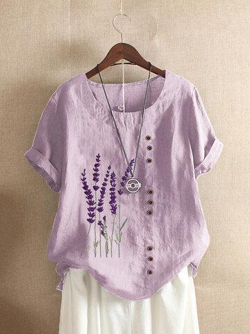 T-shirt ricamata lavanda