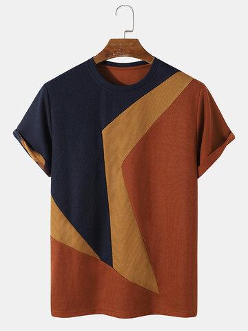ニットの不規則なカラーブロックTシャツ