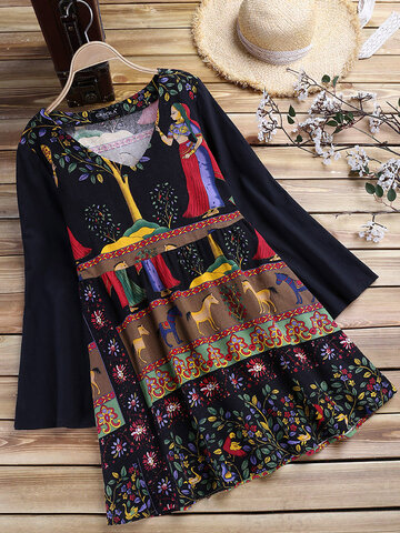 Ethnic Print Patchwork Women Blouses
