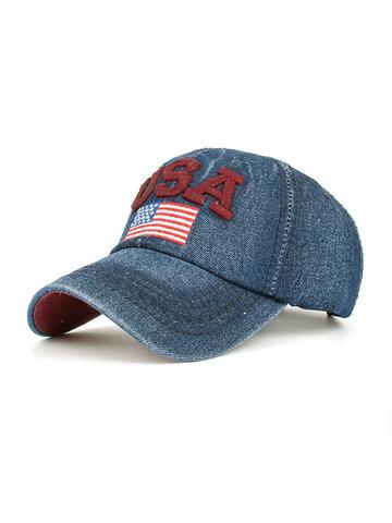 Washed Cowboy Hat Patriotic Trucker Baseball Hat USA Flag Re