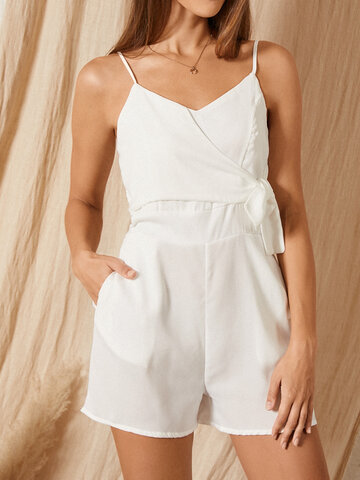 Solid Color Knotted Casual Romper