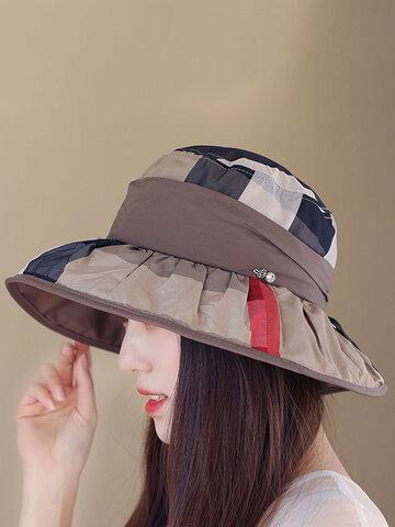 Foldable Vintage Plaid Basin Fishmen Hat