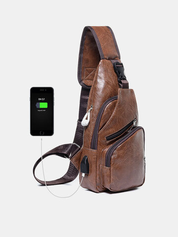 PU Leather USB Rechargeable Chest Bag