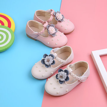 Girls Pearls Floral Comfy Flat Shoes