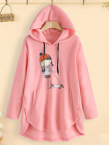Cartoon Print Hooded Sweatshirt