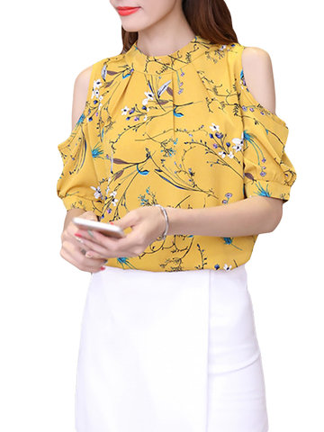 Floral Printed Off-shoulder T-shirts, Yellow white