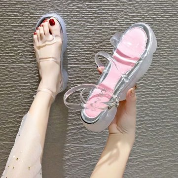 Jelly Transparent Soft Bottom Sandals Female Open Toe Word Buckle With Thick Bottom Soft Bottom Shoes Flat Street Shooting