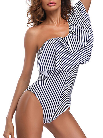 Striped Backless Oblique Padded One Piece