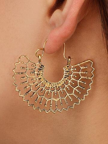 Metal Hollow Fan-shaped Earrings