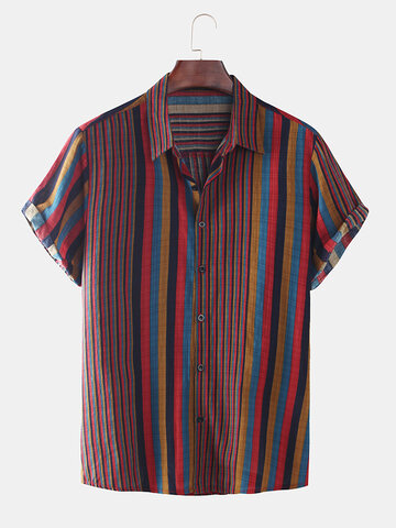Mens Fashion Colorful Striped Shirts