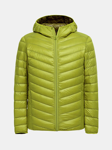 Casual Portable Pocketable Thin Lightweight Solid Color Hooded Down Jacket for Men