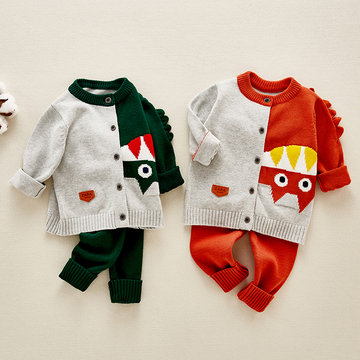 2Pcs Baby Cotton Knit Sweater Set For 0-18M