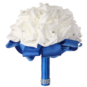 22 प्रमुखों गुलाब क्रिस्टल कृत्रिम फूल घर शादी दुल्हन गुलदस्ता पार्टी सजावट
