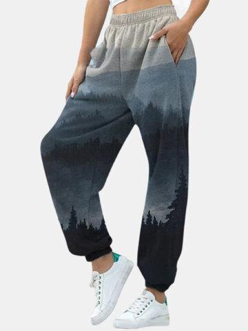 Landscape Print Elastic Waist Sports Pants