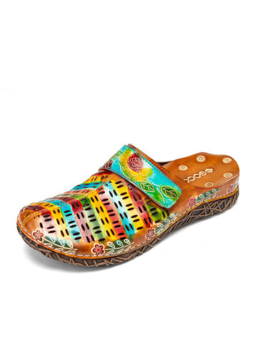 SOCOFY Colorful Hollow Out Comfy Slip On Closed Toe Mules Sandals