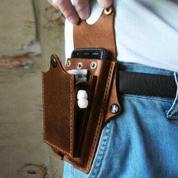 Men EDC Genuine Leather Belt Bag
