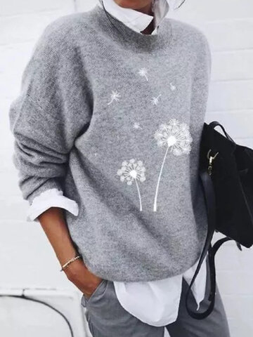 Flower Print Long Sleeve Sweater