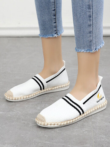 Casual Knitted Stripe Espadrille Shoes