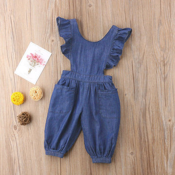 Cute Girl's Back Cross Denim Romper For 1-9 Years